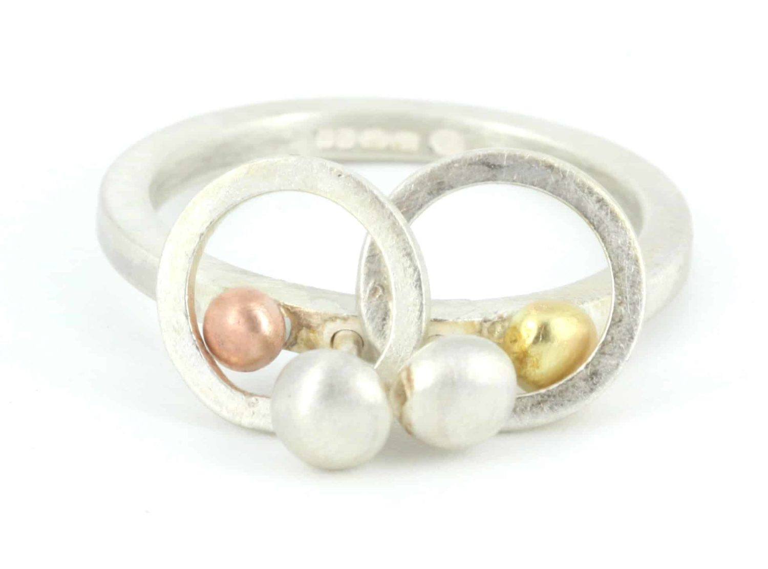 gold & silver pebble ring